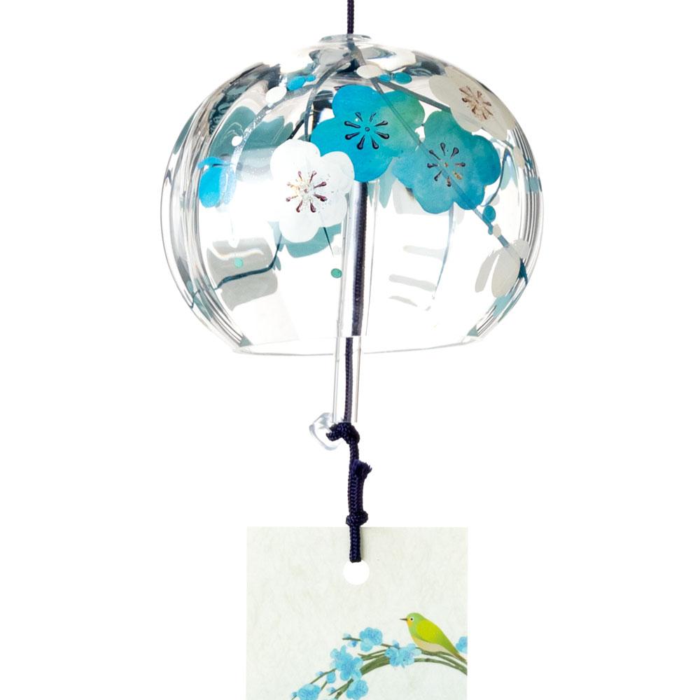 ぎやまん風鈴 水色梅 クリスタルガラス風鈴 木之本 福島県の工芸品 Wind bell, Fukushima craft