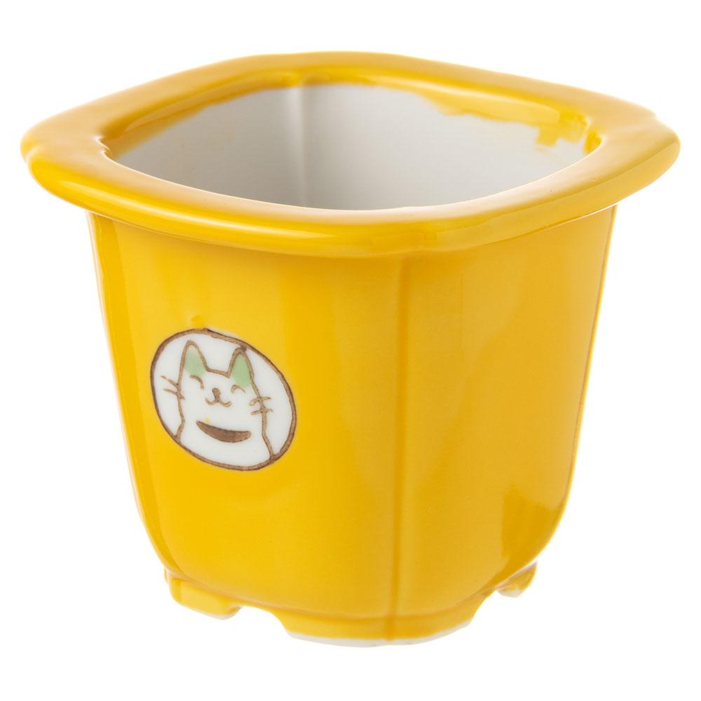 風水猫ミニ植木鉢・黄 (K4631) 瀬戸焼の植木鉢 愛知県の工芸品 Flower pot, Seto-yaki