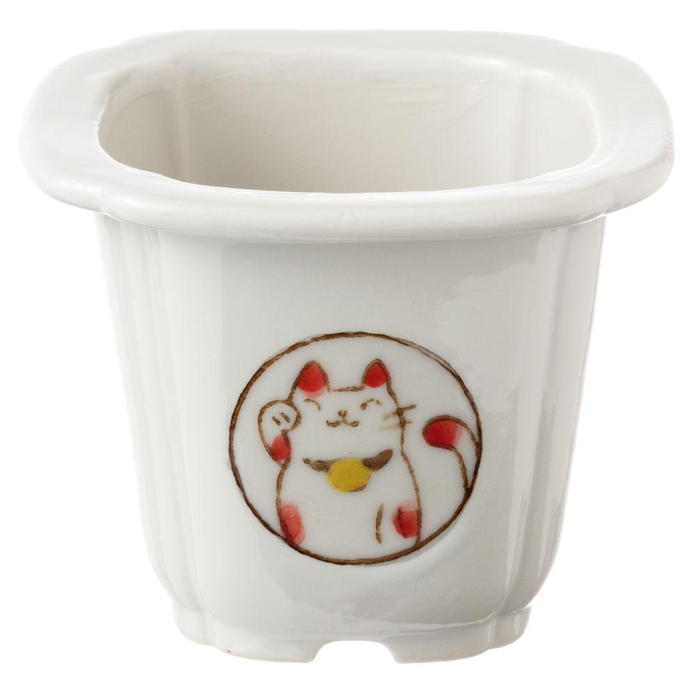 風水猫ミニ植木鉢・白 (K4632) 瀬戸焼の植木鉢 愛知県の工芸品 Flower pot, Seto-yaki