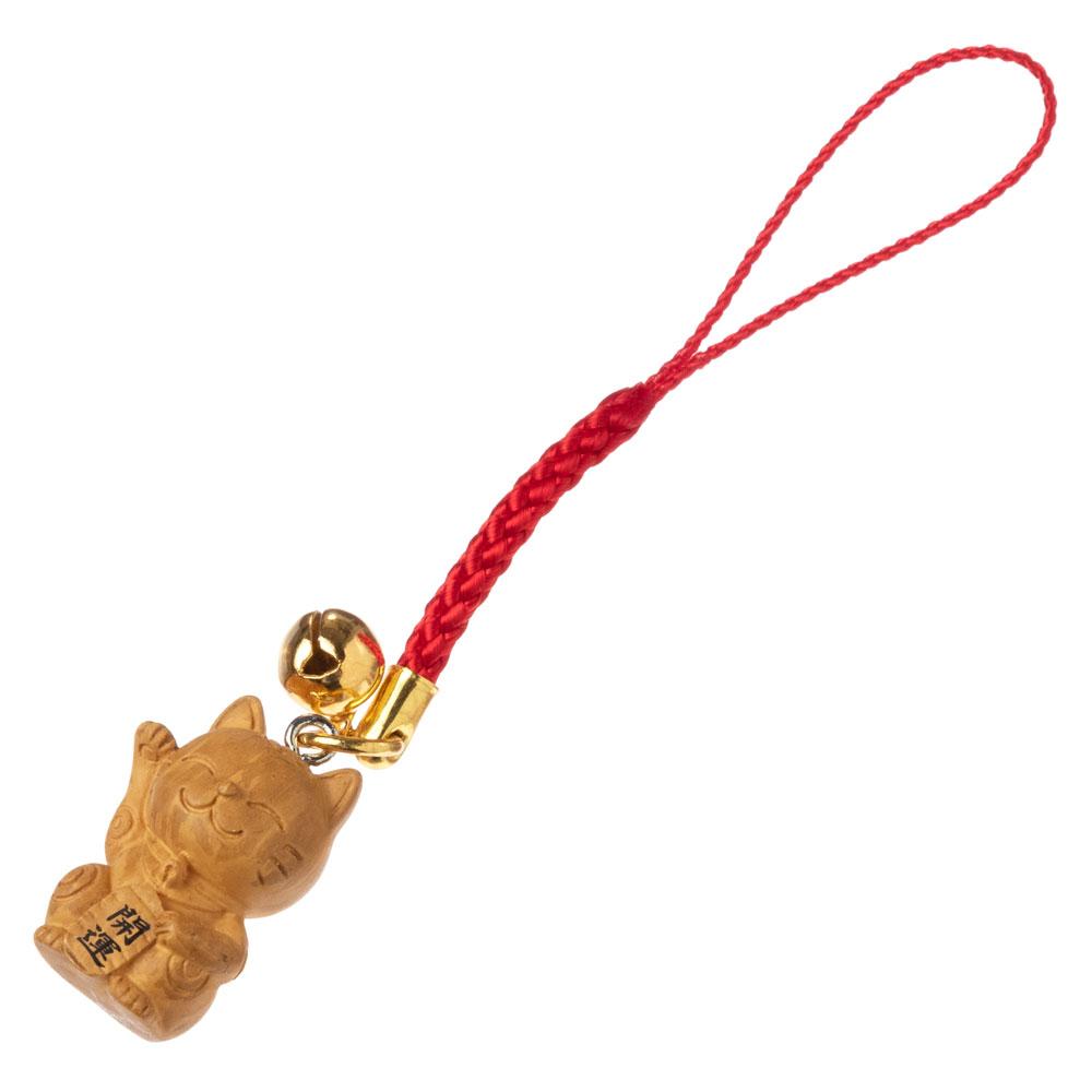 木目調根付 招き猫 開運招福・千客万来・商売繁盛 Lucky cat accessory, Good luck charm