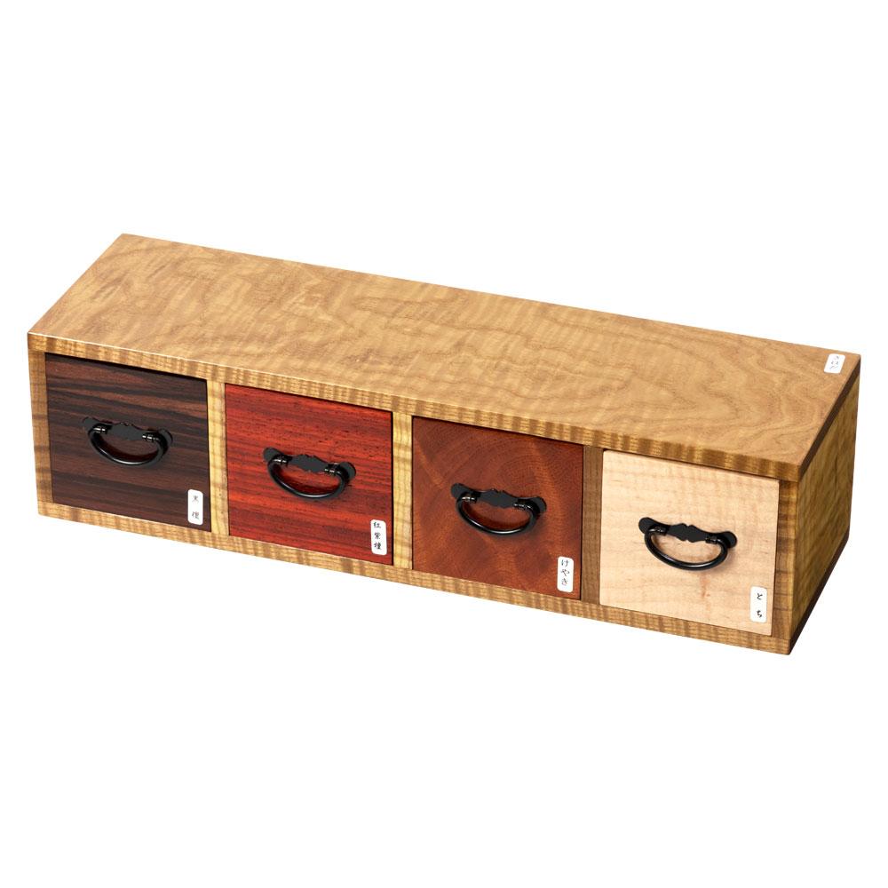 銘木使用 4列小物入れ001 黄蘗(きはだ) 4種の木目が楽しめます 縦置き横置き可能 京都・美山 銘木工芸 山匠 Four columns glove compartment, Works of Japanese precious wood