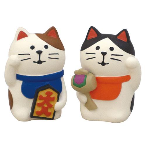 concombre ペア招き猫 (ZCB-92704) 開運招福松足神社 まったり縁起こもの 置物・フィギュア Lucky charm figurine