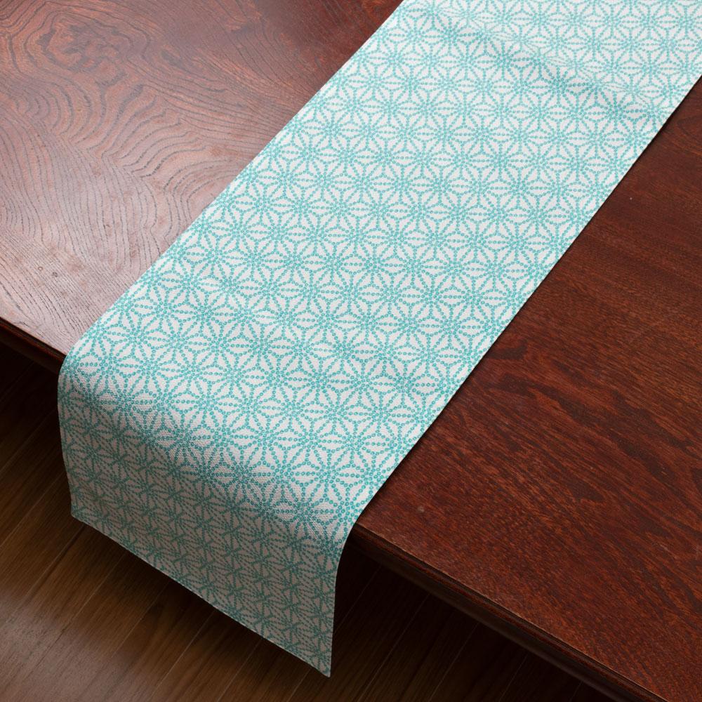 百道発信 しずく ランナークロス 水色 (IKI-1474) 130×25cm 福岡県の布製品 Fabric table runner, Fukuoka craft