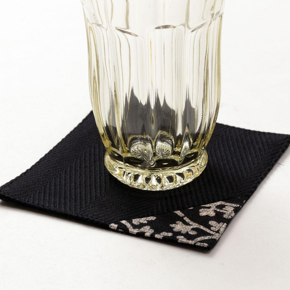 百道発信 紋 コースター 黒 (IKI-1495) 11×11cm 福岡県の布製品 Fabric place mat, Fukuoka craft