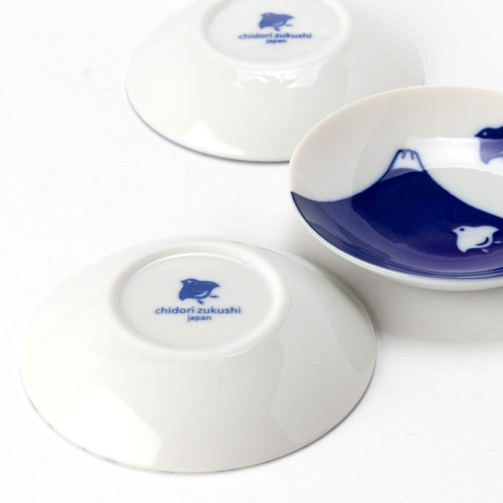 千鳥づくし 豆皿揃 (2100-5-41) 美濃焼の豆皿セット 岐阜県の工芸品 Small dish set, Mino-yaki