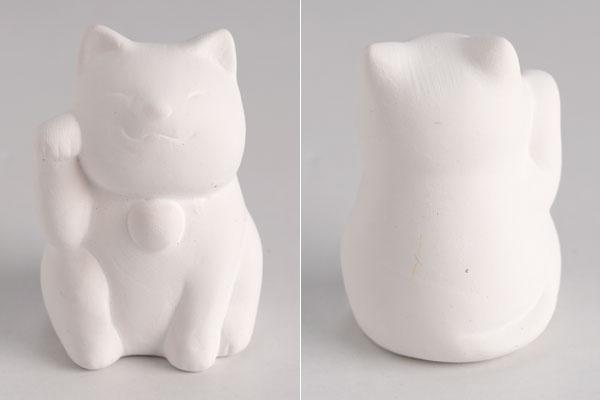 おえかき招き猫(ぬりえ用白)右手上げ 工作用陶器シリーズ