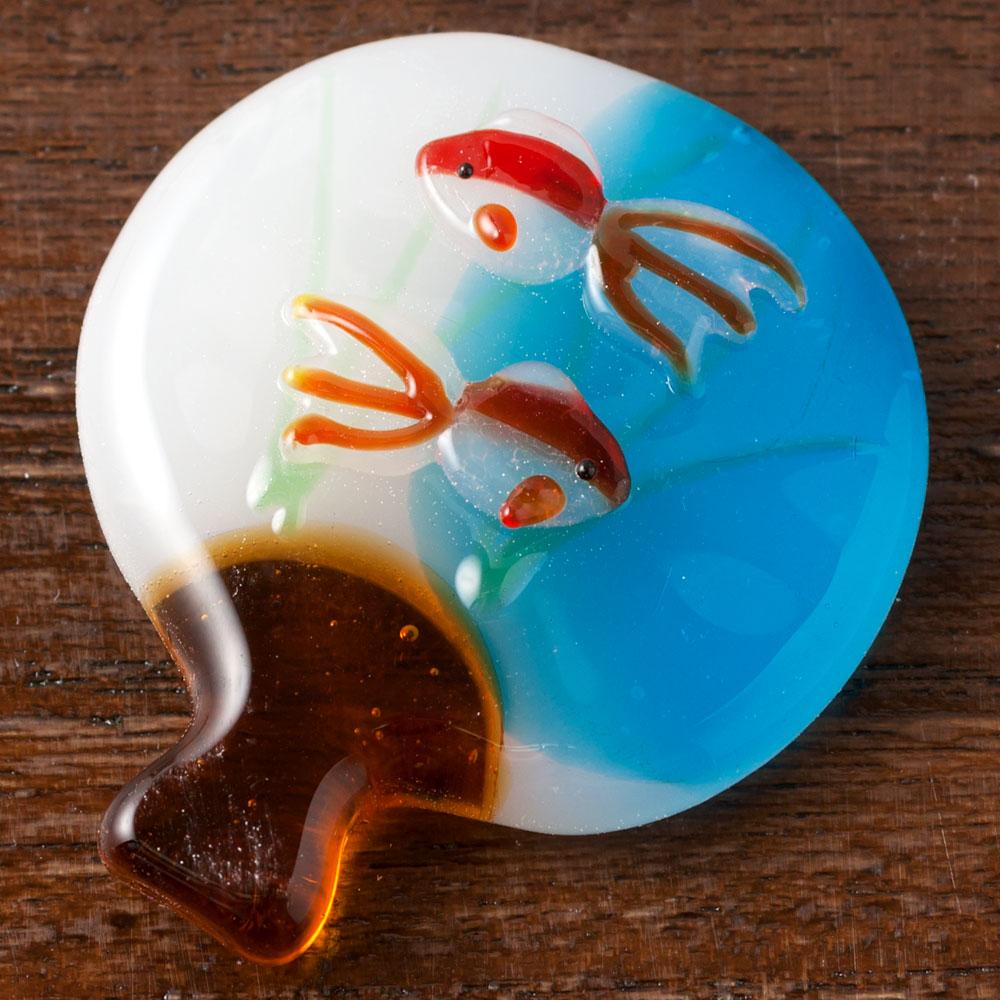廣田硝子 硝子の箸置き 夏の団扇箸置き Chopstick rest of Summer fan / Made of glass