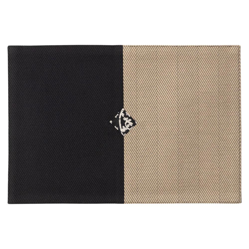 百道発信 紋 モーニングマット 黒×利休 (IKI-1496) ミニランチョン ティーマット 32×22cm 福岡県の布製品 Fabric place mat, Fukuoka craft