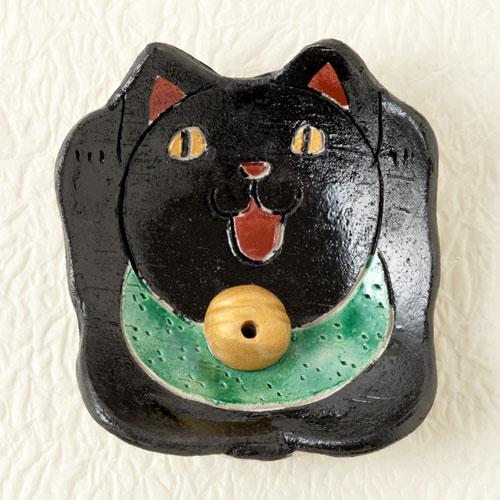 瀬戸焼 民芸香立て 黒猫 (K6208) 愛知県の工芸品 Seto-yaki Incense stand, Aichi craft