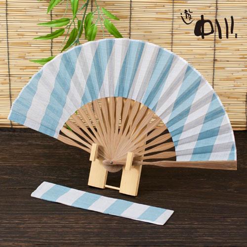 【半額・在庫処分】遊 中川 麻の扇子 紳士用 ラグビー縞 水色 ※在庫限り