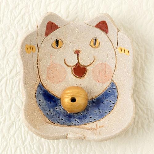 瀬戸焼 民芸香立て 招猫 (K6209) 愛知県の工芸品 Seto-yaki Incense stand, Aichi craft