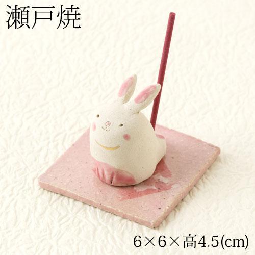 瀬戸焼 手作り香立て 兎 (K8022) 愛知県の工芸品 Seto-yaki Incense stand, Aichi craft
