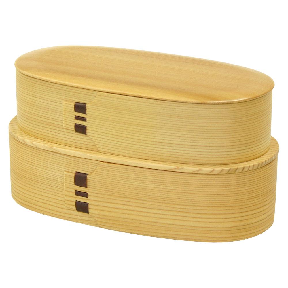 大館曲げわっぱ 弁当小判入子(大)RL・下段ご飯タイプ 作者:伝統工芸士・栗盛俊二 Odate Magewappa Bento,Lunch box