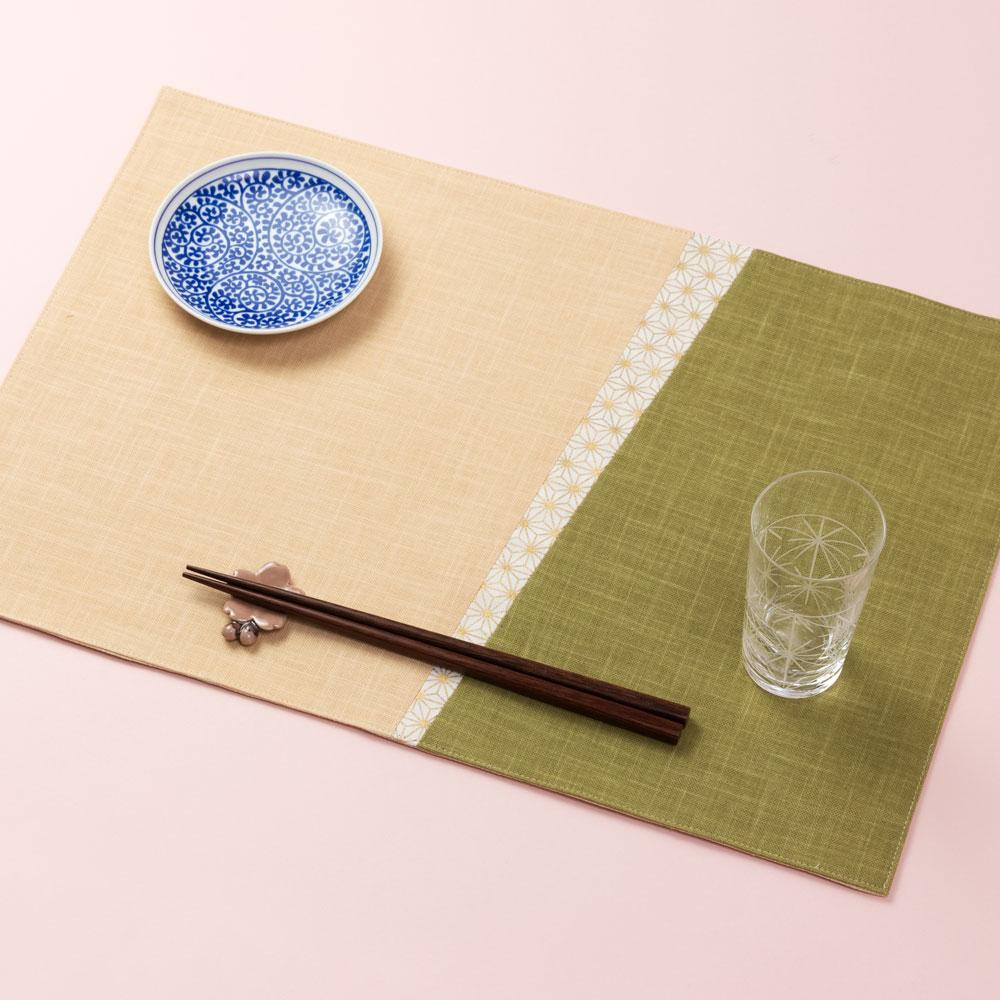 百道発信 いろ葉 ランチョンマット わかくさ (IKI-1486) 45×31cm リバーシブル 福岡県の布製品 Fabric place mat, Fukuoka craft