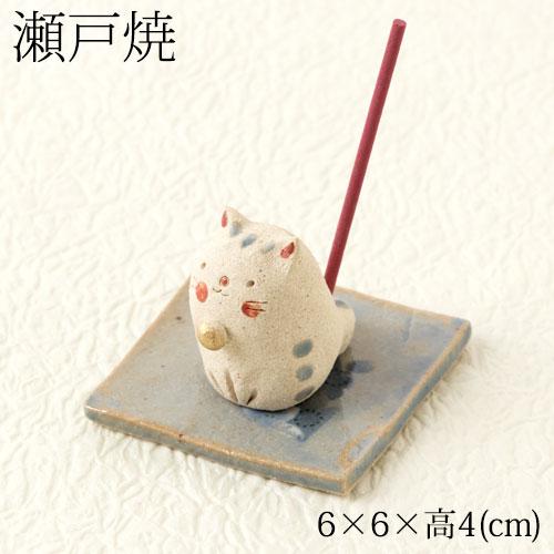 瀬戸焼 手作り香立て 猫 (K8023) 愛知県の工芸品 Seto-yaki Incense stand, Aichi craft