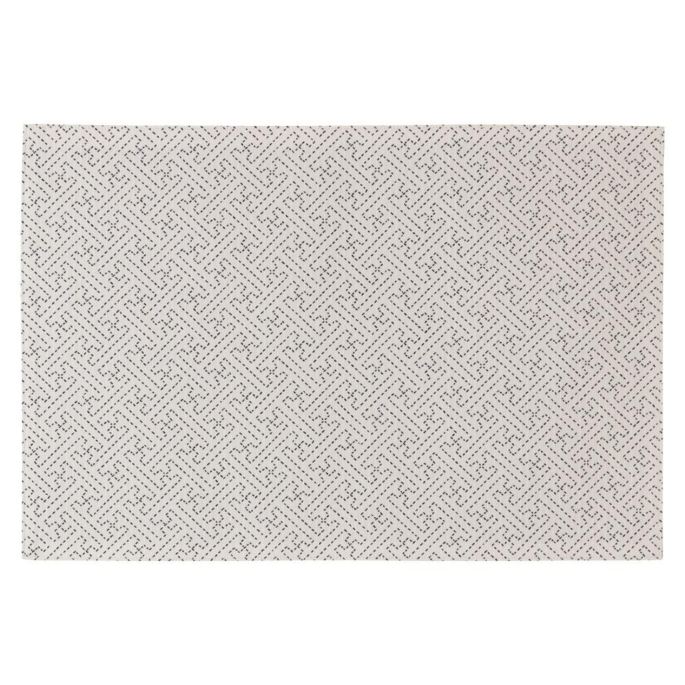 百道発信 綾 ランチョンマット オフ (IKI-1450) リバーシブル 45×31cm 福岡県の布製品 Fabric place mat, Fukuoka craft