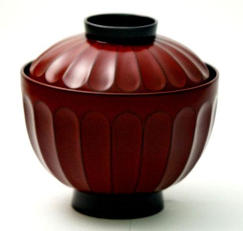 【蓋付き椀】菊割吸物椀 古代根来 5客 (MA-319) Bowl with lid