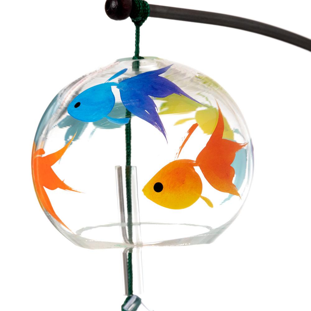 会津桐卓上風鈴・置き風鈴 いろいろ金魚と三毛猫 ガラス風鈴 木之本 福島県の工芸品 Wind bell, Fukushima craft