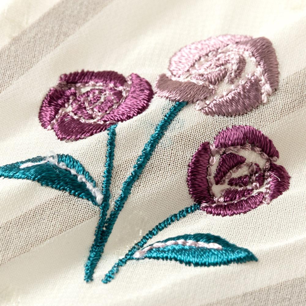 ガーデン刺繍扇子セット2020 バラ 刺繍入り布貼り扇子 扇子袋付き 女性向け スーベニール Sensu fan