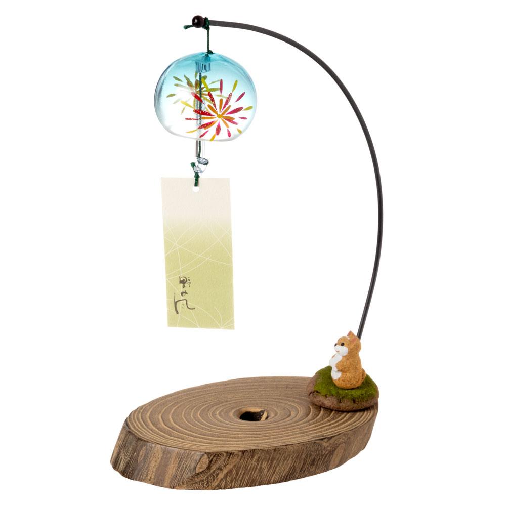 会津桐卓上風鈴・置き風鈴 花火と柴犬 ガラス風鈴 木之本 福島県の工芸品 Wind bell, Fukushima craft