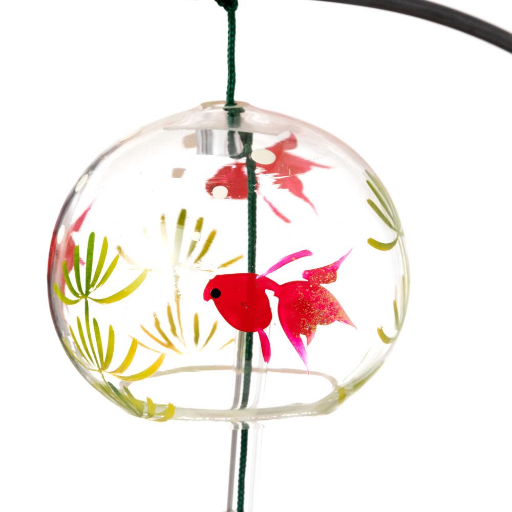 会津桐卓上風鈴・置き風鈴 金魚とねこ 木之本 ガラス風鈴 福島県の工芸品 Wind bell, Fukushima craft
