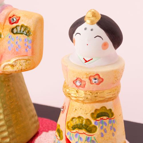 柚子舎 春舞立ち雛・大 スワロフスキー付 (HK691) 瀬戸焼のお雛さま 桃の節句 Setoyaki Hina dolls