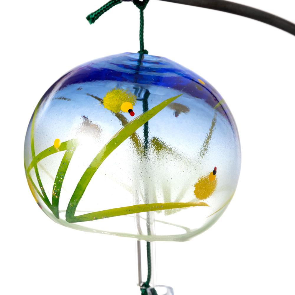 会津桐卓上風鈴・置き風鈴 ほたるとふくろう ガラス風鈴 木之本 福島県の工芸品 Wind bell, Fukushima craft