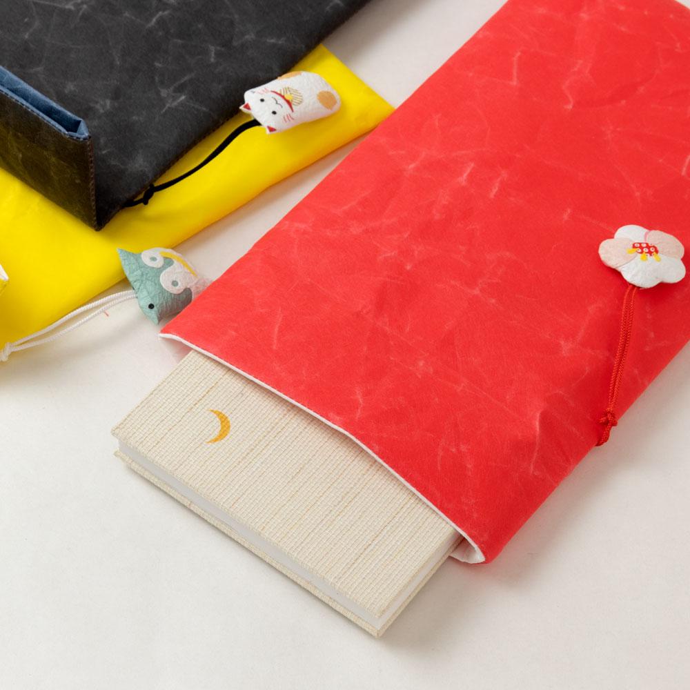 めでたや 御朱印帳袋 黒 まねきねこ 丈夫な紙製の御朱印帳ケース 山梨県の工芸品 Goshuin book case
