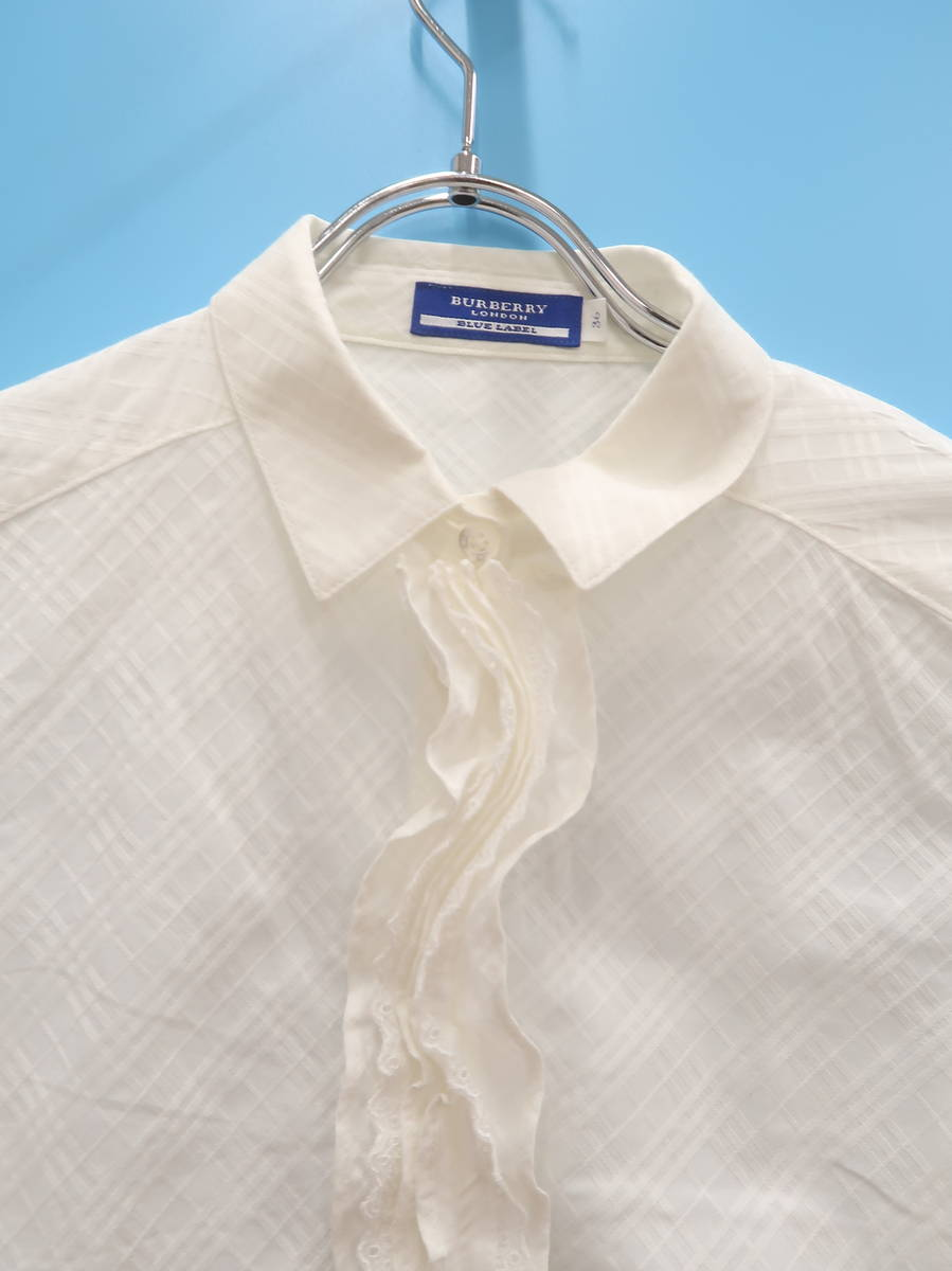 BURBERRY BLUE LABEL(バーバリーブルーレーベル)フリルチェックシャツブラウス 長袖 白 レディース Aランク 36 [委託倉庫から出荷]