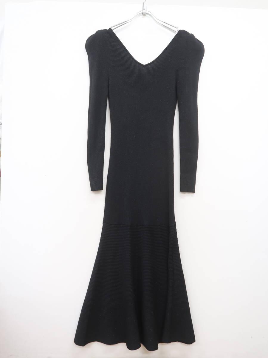【送料無料】Her lip to(ハーリップトゥ)Sparkle Ribbed-knit Dress 長袖 黒 レディース Aランク S [委託倉庫から出荷]