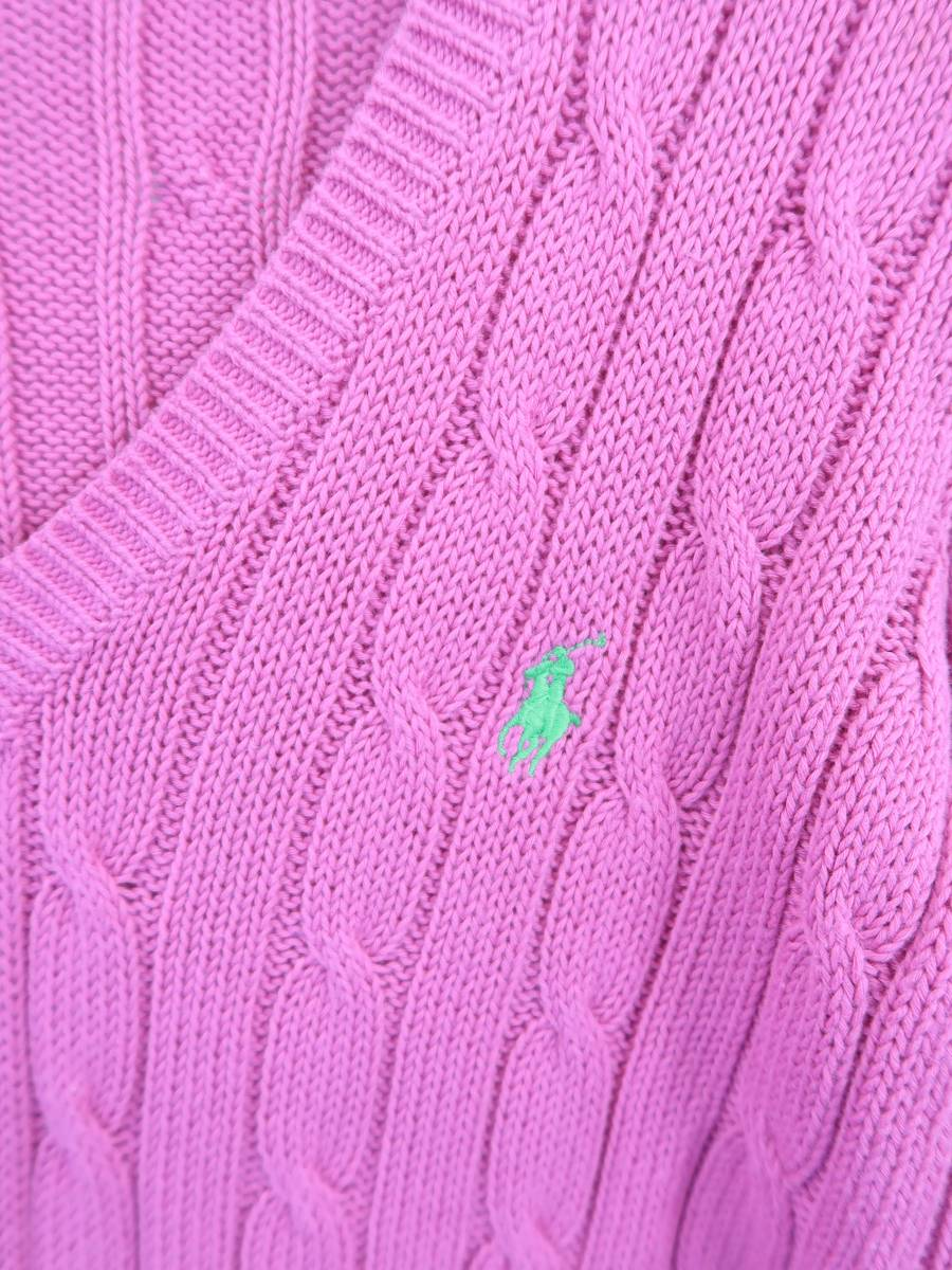 Ralph Lauren(ラルフローレン)ロゴ刺しゅうケーブルニットプルオーバー 長袖 ピンク レディース Sランク XS [委託倉庫から出荷]