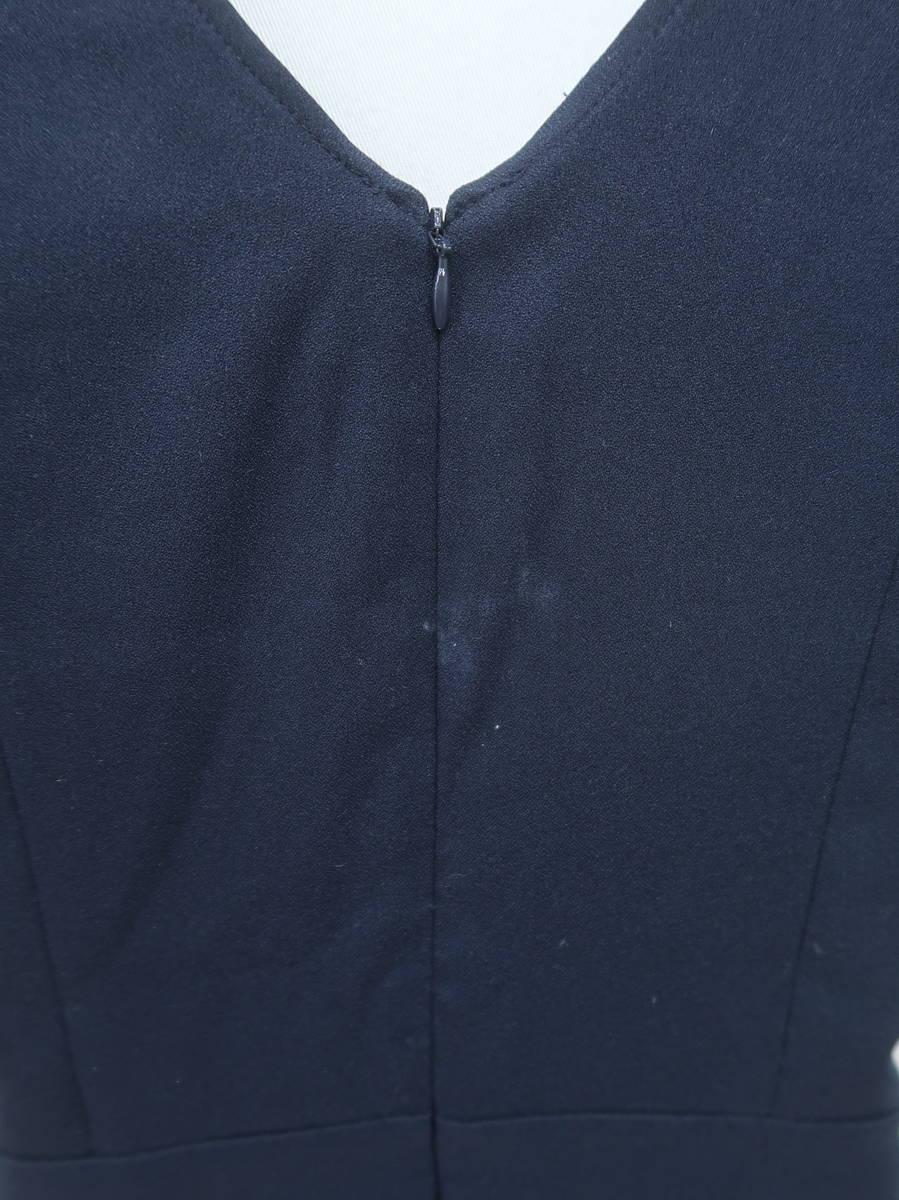 michellMacaron(ミシェルマカロン)フリルスリーブサロペット フレンチスリーブ 紺 レディース A-ランク S [委託倉庫から出荷]