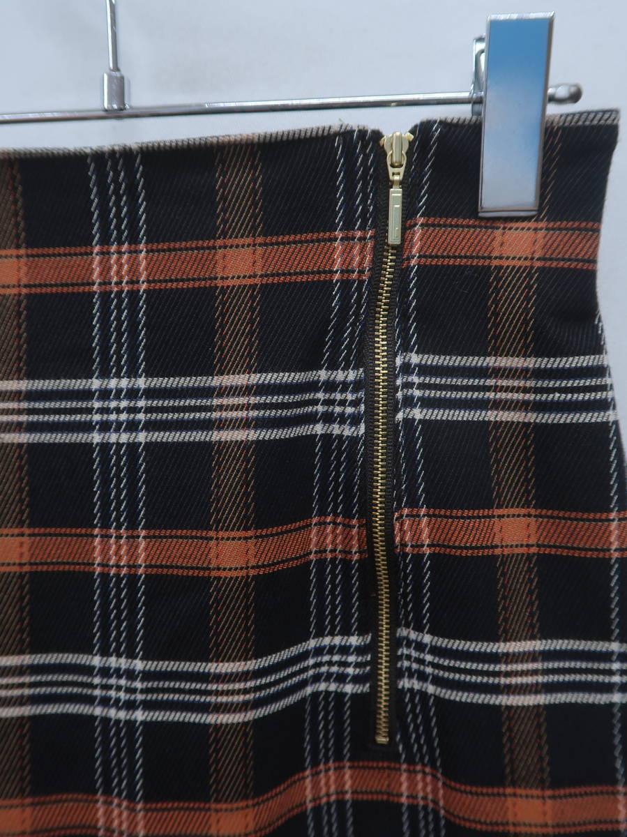 PATTERN fiona(パターンフィオナ)チェックミディタイトスカート 黒/オレンジ レディース Aランク M [委託倉庫から出荷]