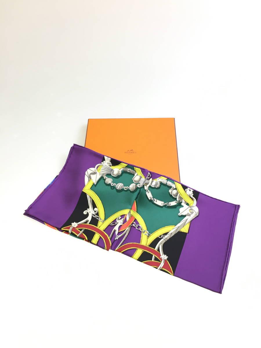 【送料無料】HERMES(エルメス)カレ ツイル90CMSシルクスカーフ 紫 レディース Aランク [委託倉庫から出荷]
