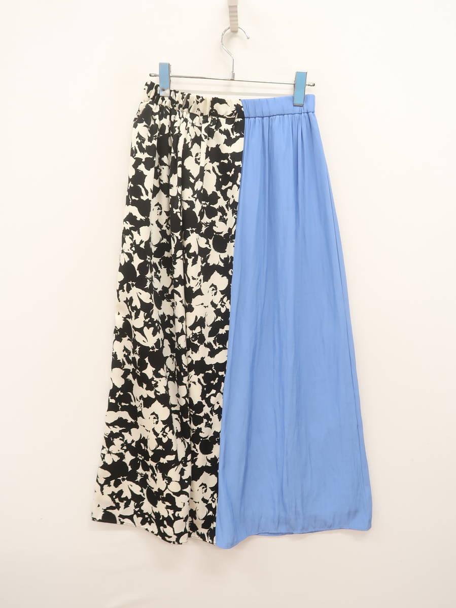 MARECHAL TERRE(マルシャルテル)フラワーパターンロングスカート 黒/青 レディース Aランク [委託倉庫から出荷]