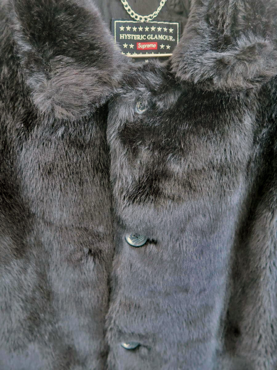 【送料無料】Supreme×HYSTERIC GLAMOUR(シュプリーム×ヒステリックグラマー)Fuck you Faux Fur Coat 長袖 黒 メンズ Sランク M [委託倉庫から出荷]