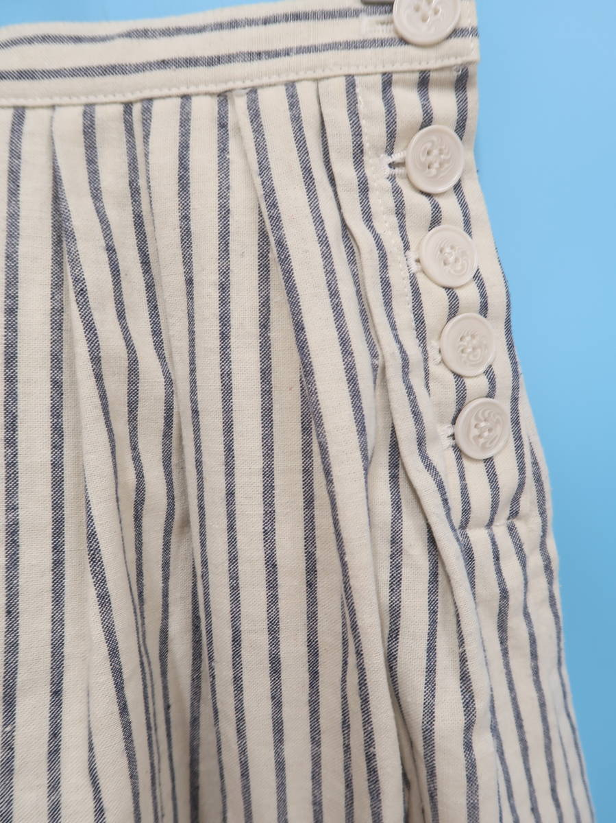 MERCURY Bijou(マーキュリービジュー)コットンリネンタックフレアスカート 白/紺 レディース Aランク F [委託倉庫から出荷]