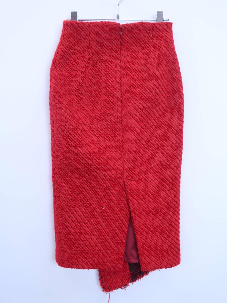 eimy istoire(エイミーイストワール)フロントボタンペンシルラップスカート 赤 レディース A-ランク M [委託倉庫から出荷]