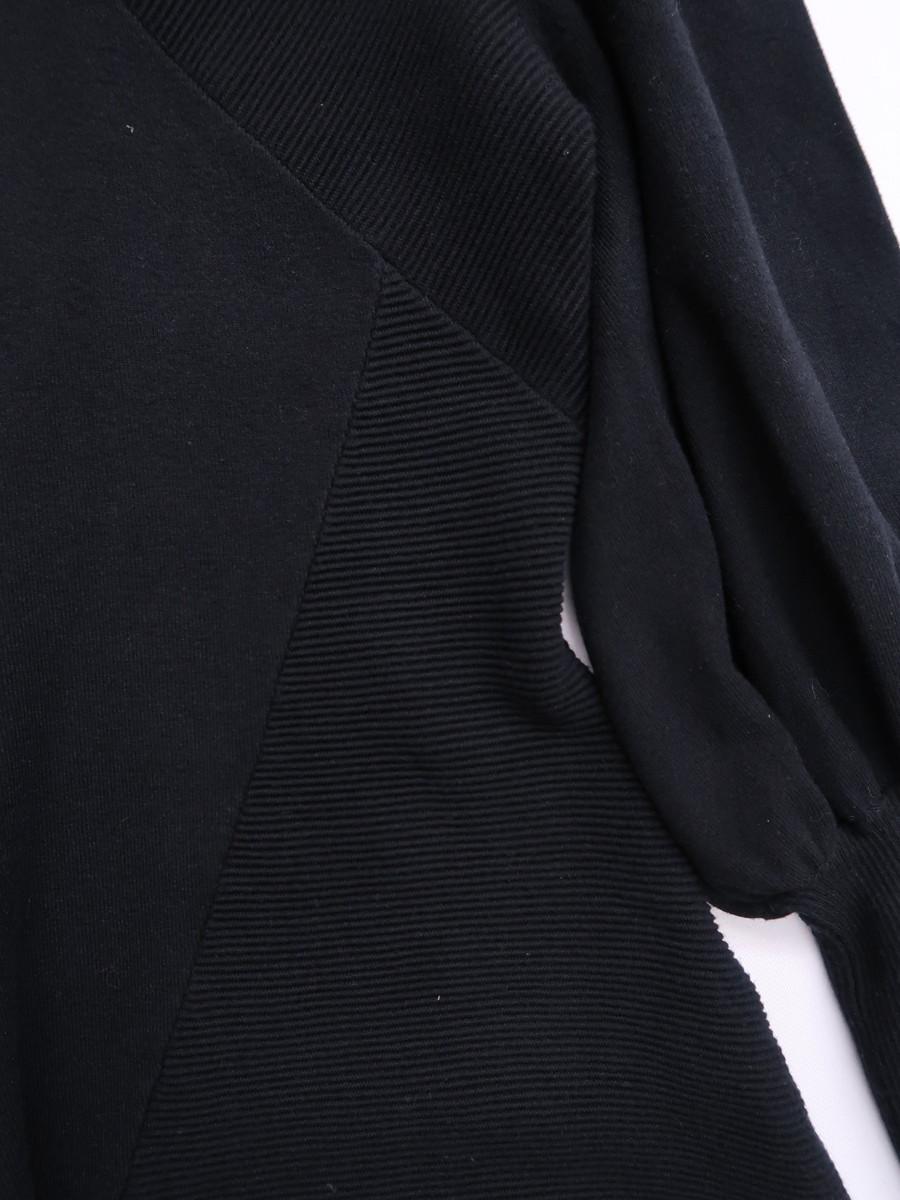【送料無料】eimy istoire(エイミーイストワール)アシンメトリーニットロングワンピース 長袖 黒 レディース Aランク F [委託倉庫から出荷]