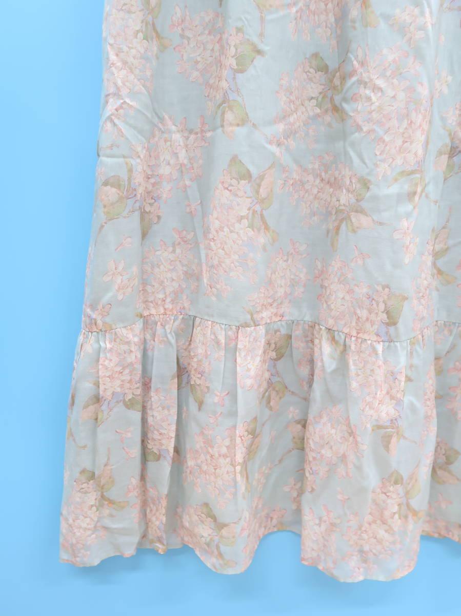 BLUE LABEL CRESTBRIDGE(ブルーレーベルクレストブリッジ)花柄フレアロングワンピース 青/ピンク レディース A-ランク 38 [委託倉庫から出荷]
