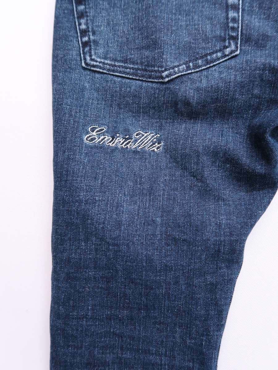 【送料無料】EmiriaWiz(エミリアウィズ)刺繍スキニーデニムパンツ 青 レディース Aランク M [委託倉庫から出荷]