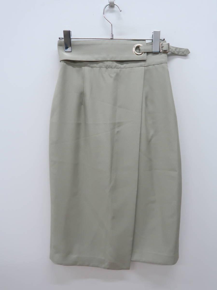 JUSGLITTY(ジャスグリッティー)麻調サイドデザインタイトスカート 緑 レディース Aランク 1 [委託倉庫から出荷]