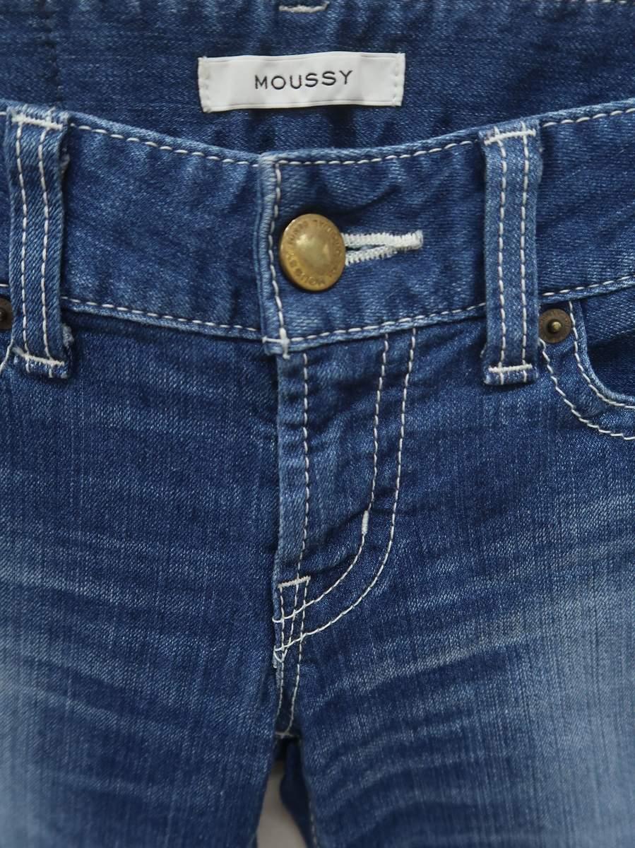 MOUSSY(マウジー)裾フリンジスキニーデニムパンツ 青 レディース Aランク 26 [委託倉庫から出荷]