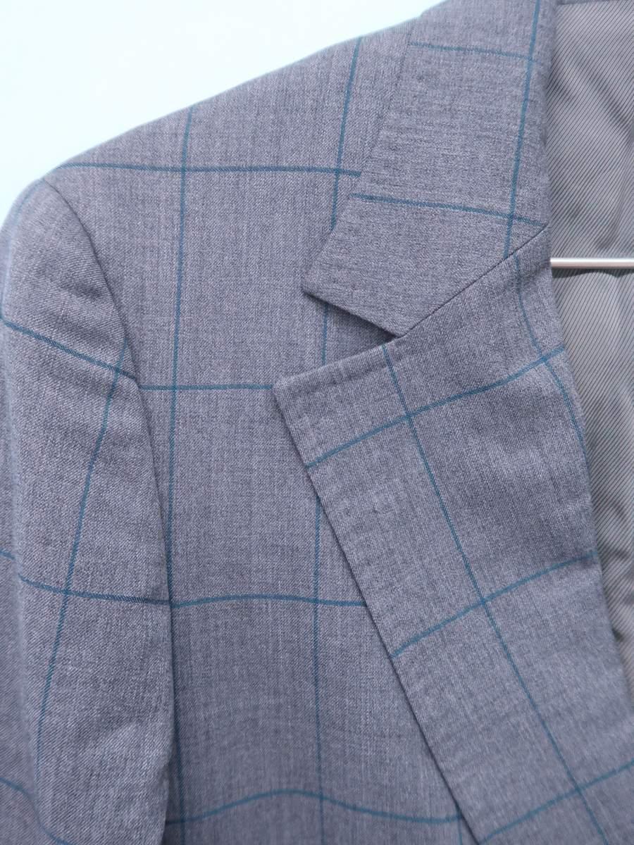 EDIFICE(エディフィス)ラインチェックウールスーツセット 長袖 グレー メンズ Aランク (上)46 (下)48