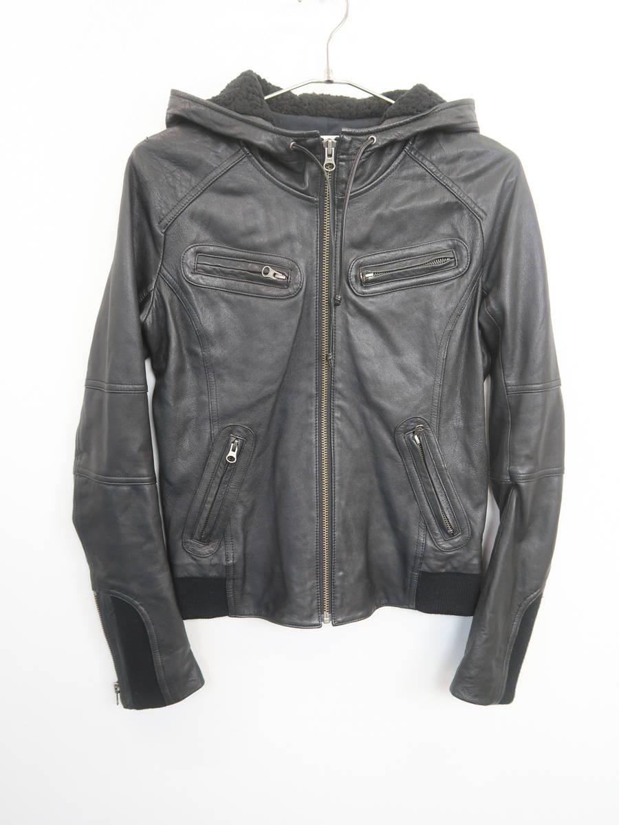 Ungrid(アングリッド)フードボアレザージャケット 長袖 黒 レディース Aランク S [委託倉庫から出荷]