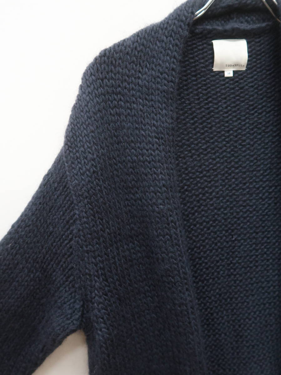 TODAYFUL(トゥデイフル)Lauguage Long Cardigan 長袖 紺 レディース Aランク 38 [委託倉庫から出荷]