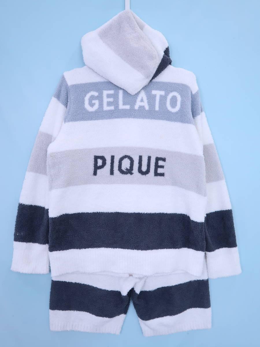 GELATO PIQUE HOMME(ジェラートピケオム)ベビモコ4ボーダープルオーバーセットアップ 長袖 白/グレー メンズ Aランク M