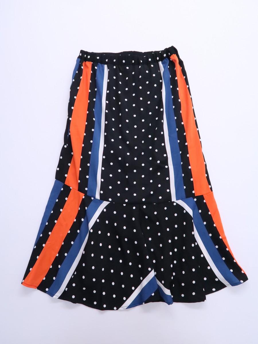 SPIRALGIRL(スパイラルガール)ドットストライプアシンメトリースカート 黒 オレンジ レディース A-ランク F [委託倉庫から出荷]