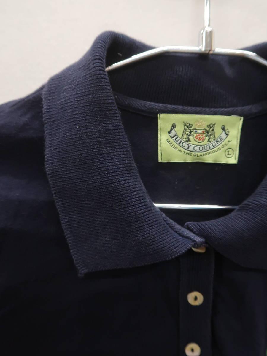 JUICY COUTURE(ジューシークチュール)テニス刺繍ポロシャツ 半袖 紺 レディース A-ランク L [委託倉庫から出荷]