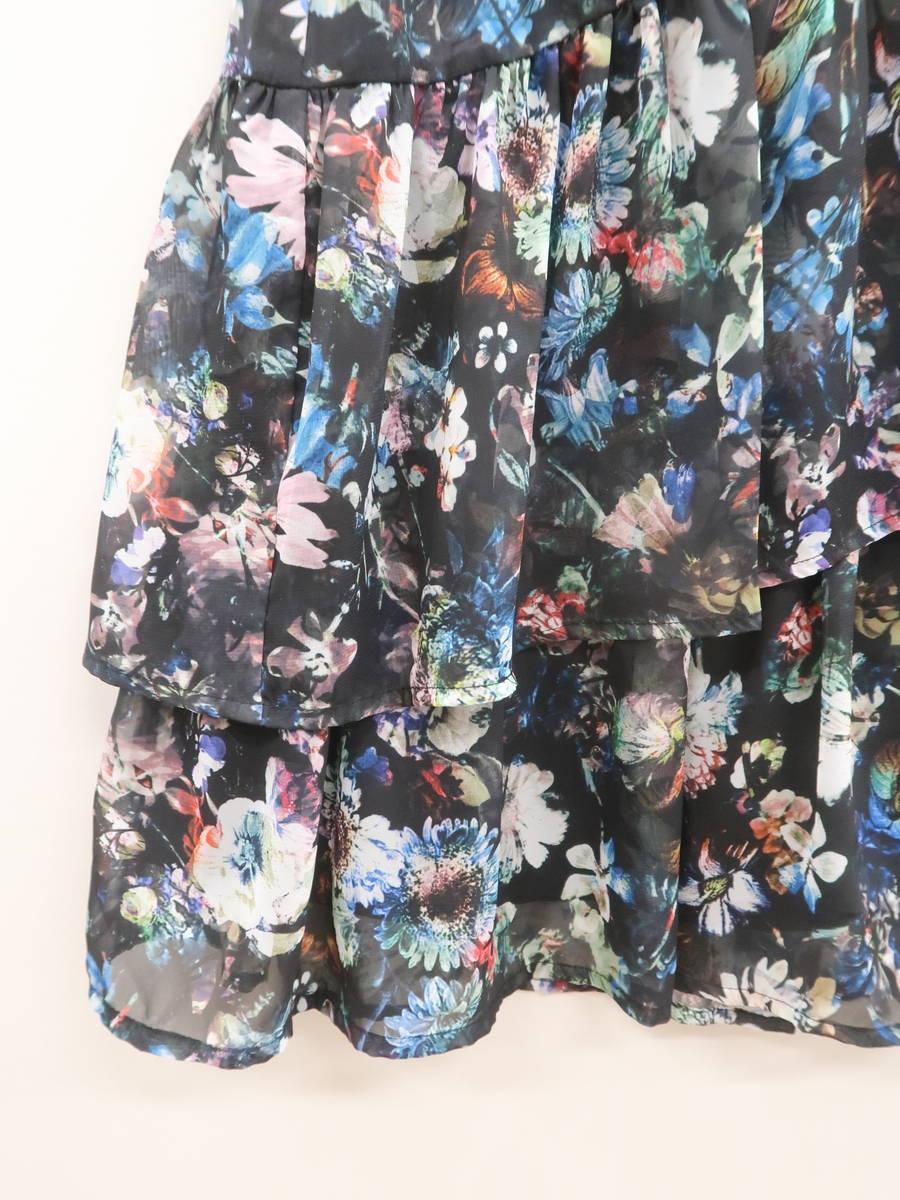 eimy istoire(エイミーイストワール)フラワーフリルシフォンラップスカート 黒/青 レディース Aランク F [委託倉庫から出荷]